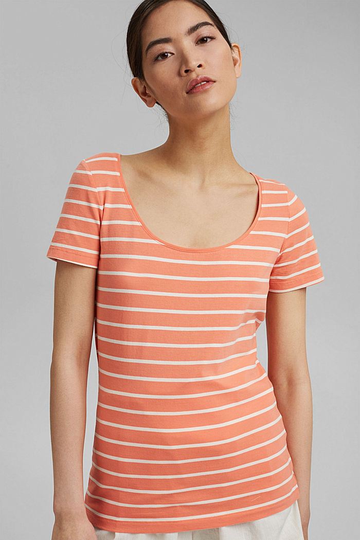 Striped T-shirt made of stretch organic cotton, CORAL ORANGE, detail image number 5