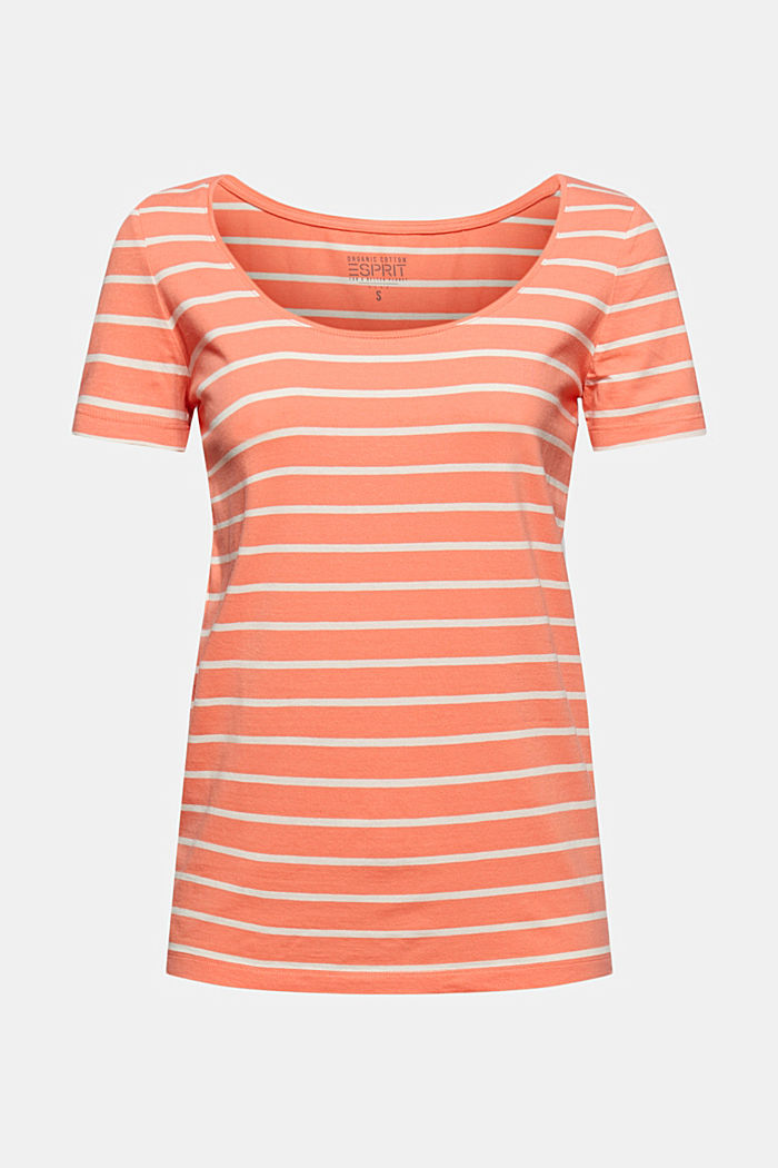 Striped T-shirt made of stretch organic cotton, CORAL ORANGE, detail image number 6