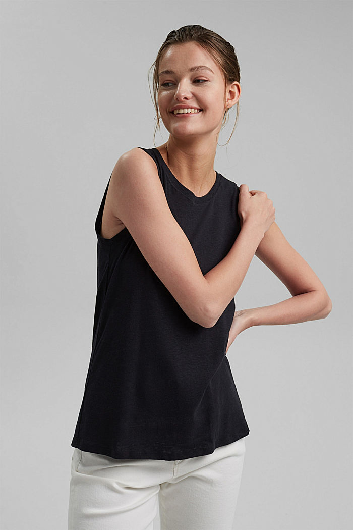 Sleeveless T-shirt made of a cotton/linen, BLACK, detail image number 0