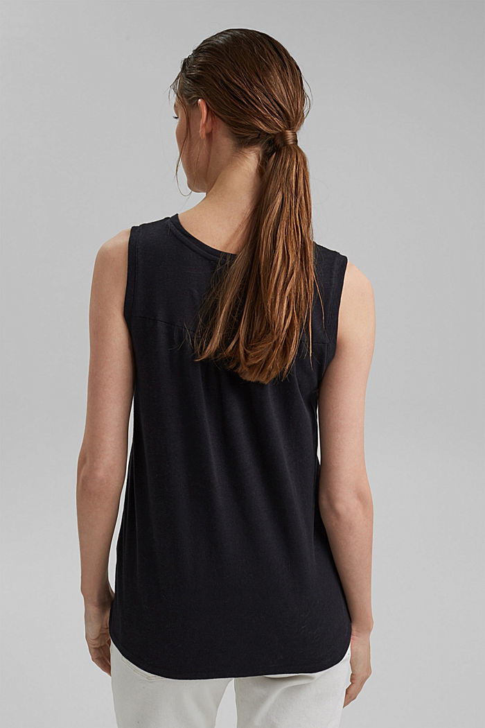 Sleeveless T-shirt made of a cotton/linen, BLACK, detail image number 3