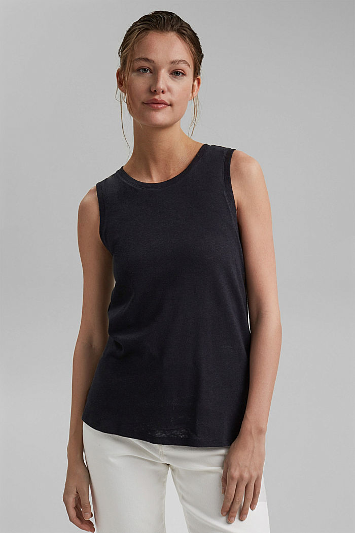 Sleeveless T-shirt made of a cotton/linen, BLACK, detail image number 6