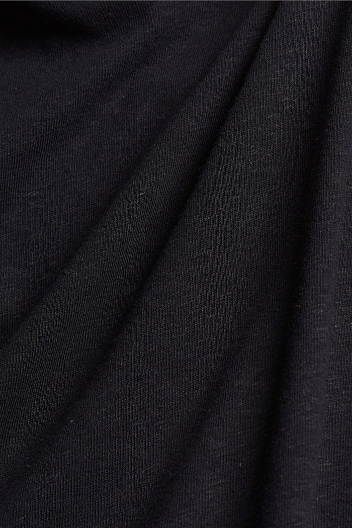Sleeveless T-shirt made of a cotton/linen, BLACK, detail image number 4