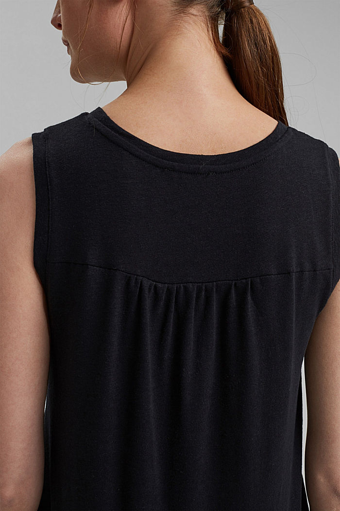 Sleeveless T-shirt made of a cotton/linen, BLACK, detail image number 5