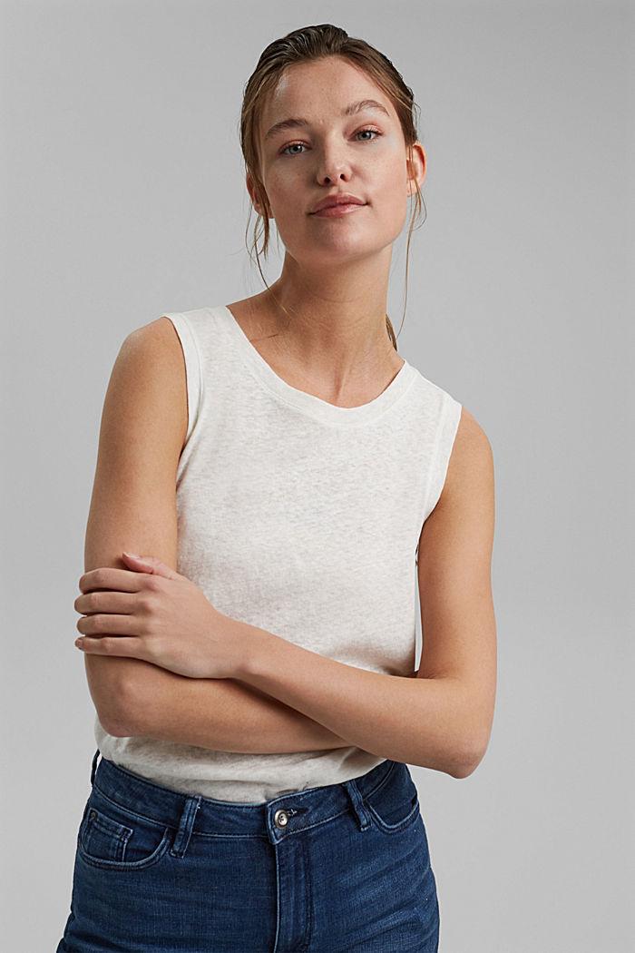 Ärmelloses T-Shirt aus Baumwolle-Leinen