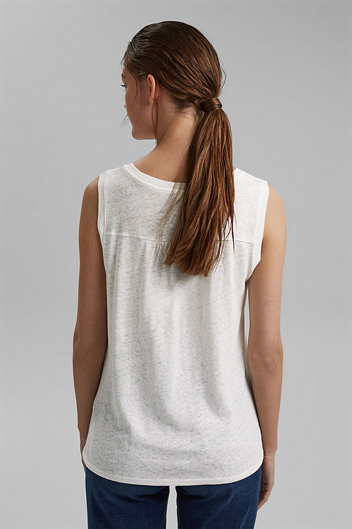 Sleeveless T-shirt made of a cotton/linen, OFF WHITE, detail image number 3