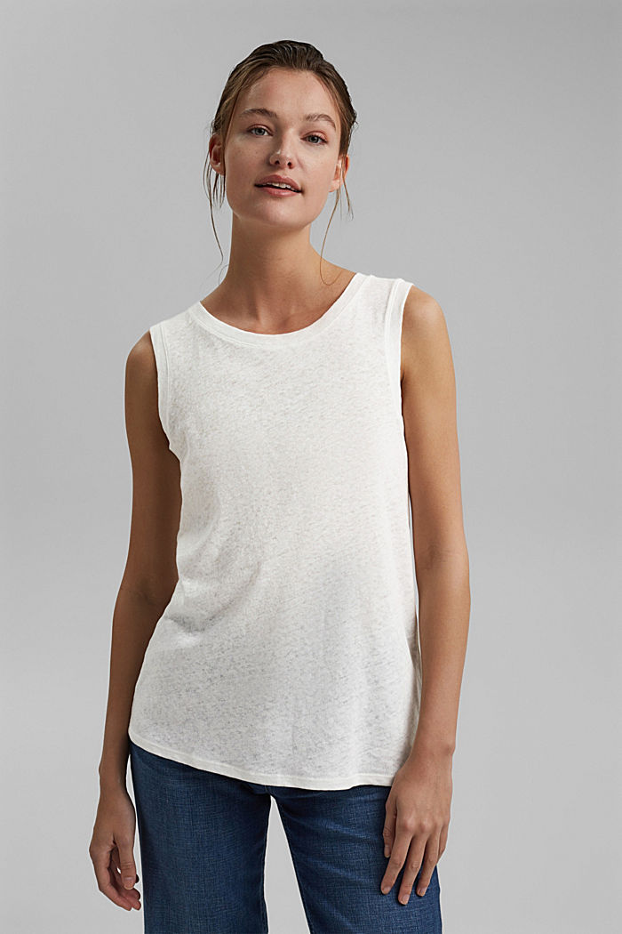 Sleeveless T-shirt made of a cotton/linen, OFF WHITE, detail image number 5