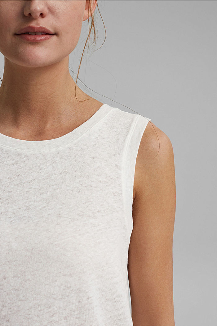 Sleeveless T-shirt made of a cotton/linen, OFF WHITE, detail image number 2