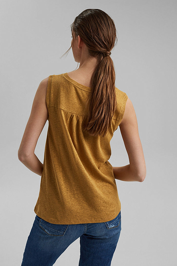 Ärmelloses T-Shirt aus Baumwolle-Leinen, CAMEL, detail image number 3