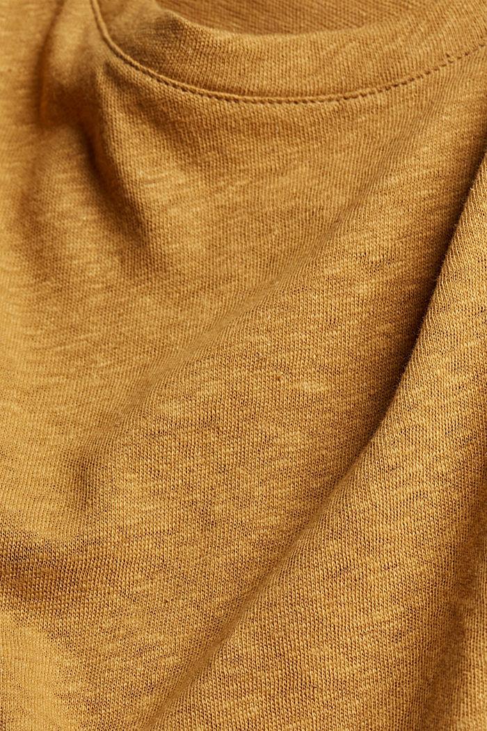 Ärmelloses T-Shirt aus Baumwolle-Leinen, CAMEL, detail image number 4