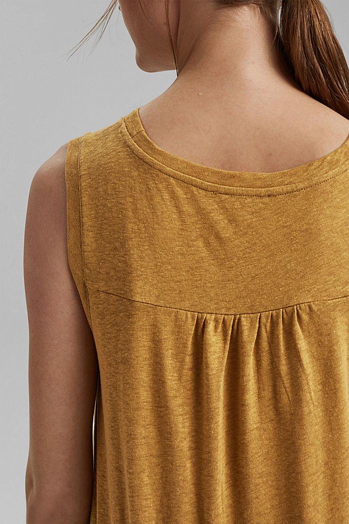 Ärmelloses T-Shirt aus Baumwolle-Leinen, CAMEL, detail image number 5