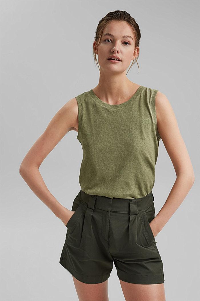 Sleeveless T-shirt made of a cotton/linen, LIGHT KHAKI, detail image number 0