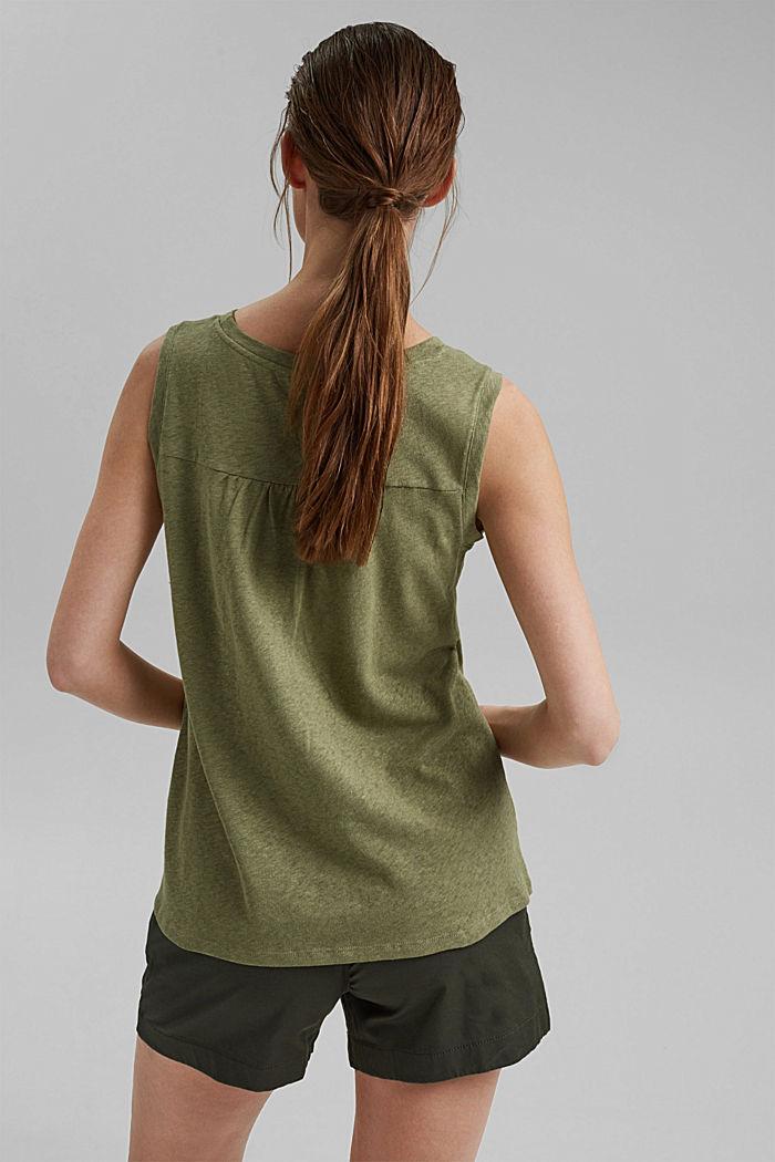 Sleeveless T-shirt made of a cotton/linen, LIGHT KHAKI, detail image number 3