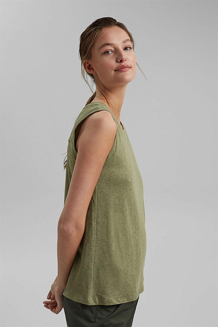 Sleeveless T-shirt made of a cotton/linen, LIGHT KHAKI, detail image number 5