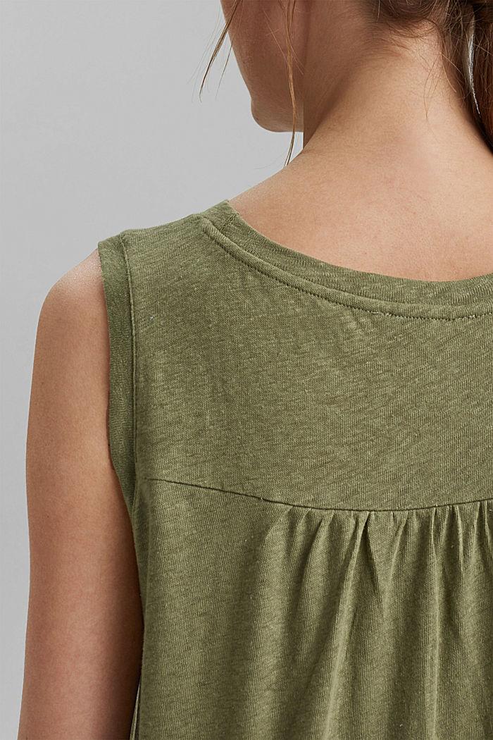 Sleeveless T-shirt made of a cotton/linen, LIGHT KHAKI, detail image number 6