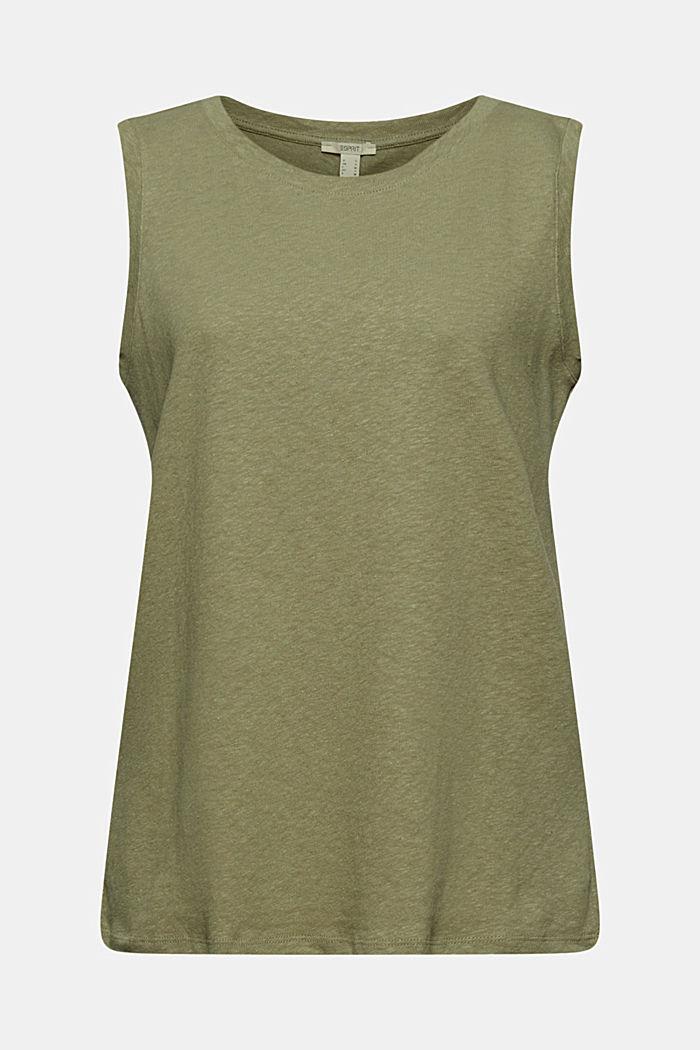 Sleeveless T-shirt made of a cotton/linen, LIGHT KHAKI, detail image number 8