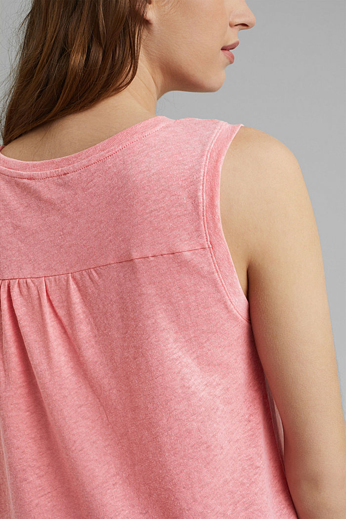 Sleeveless T-shirt made of a cotton/linen, CORAL, detail image number 2