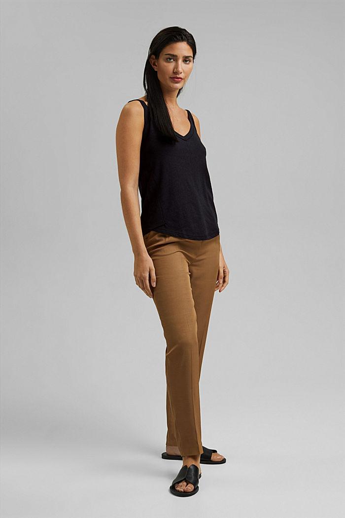 With linen: V-neck sleeveless top, BLACK, detail image number 1
