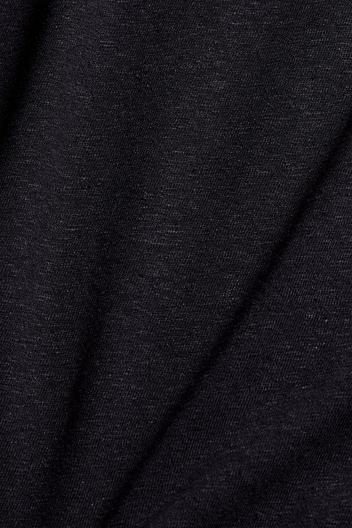 With linen: V-neck sleeveless top, BLACK, detail image number 4