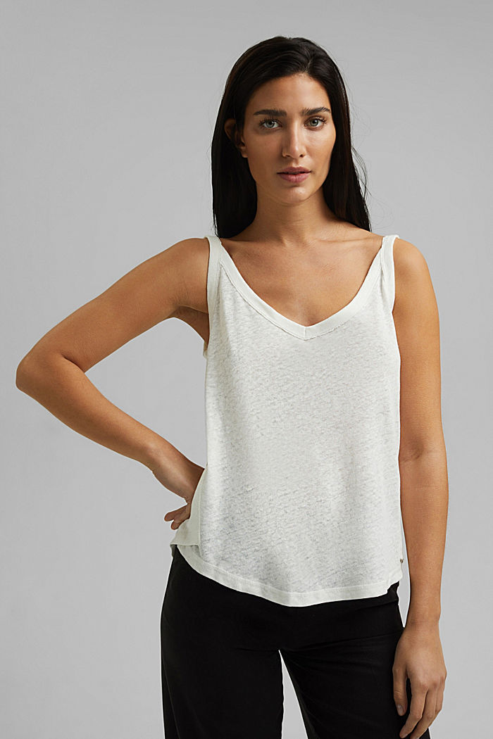 With linen: V-neck sleeveless top, OFF WHITE, detail image number 0