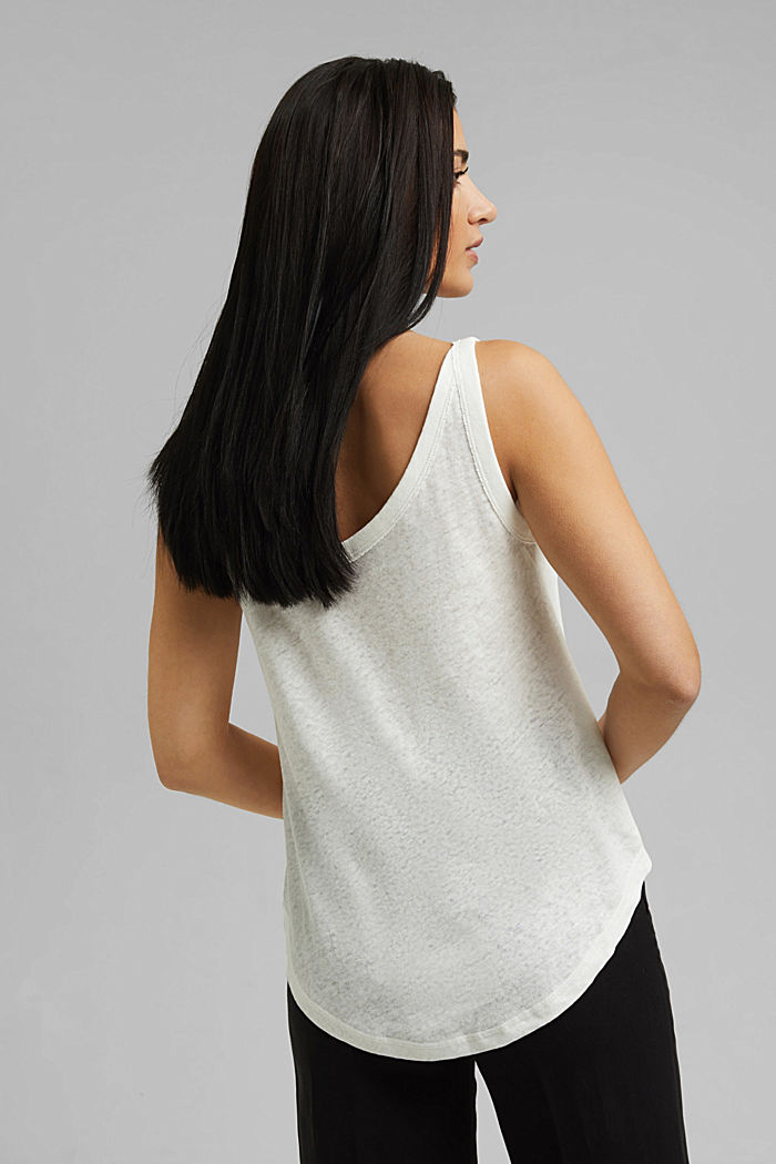With linen: V-neck sleeveless top, OFF WHITE, detail image number 3