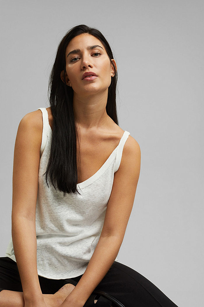 With linen: V-neck sleeveless top, OFF WHITE, detail image number 5