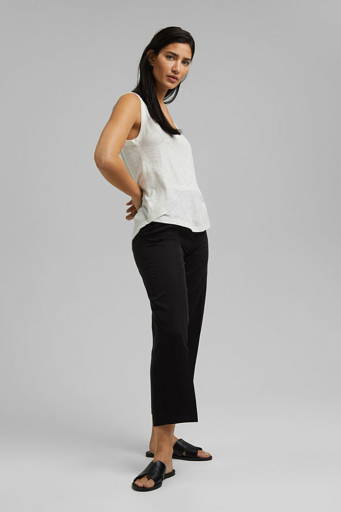 With linen: V-neck sleeveless top, OFF WHITE, detail image number 1