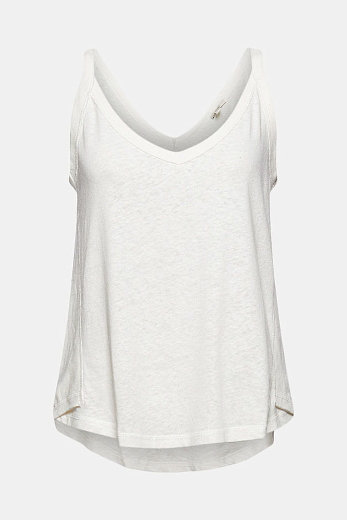 With linen: V-neck sleeveless top, OFF WHITE, detail image number 7