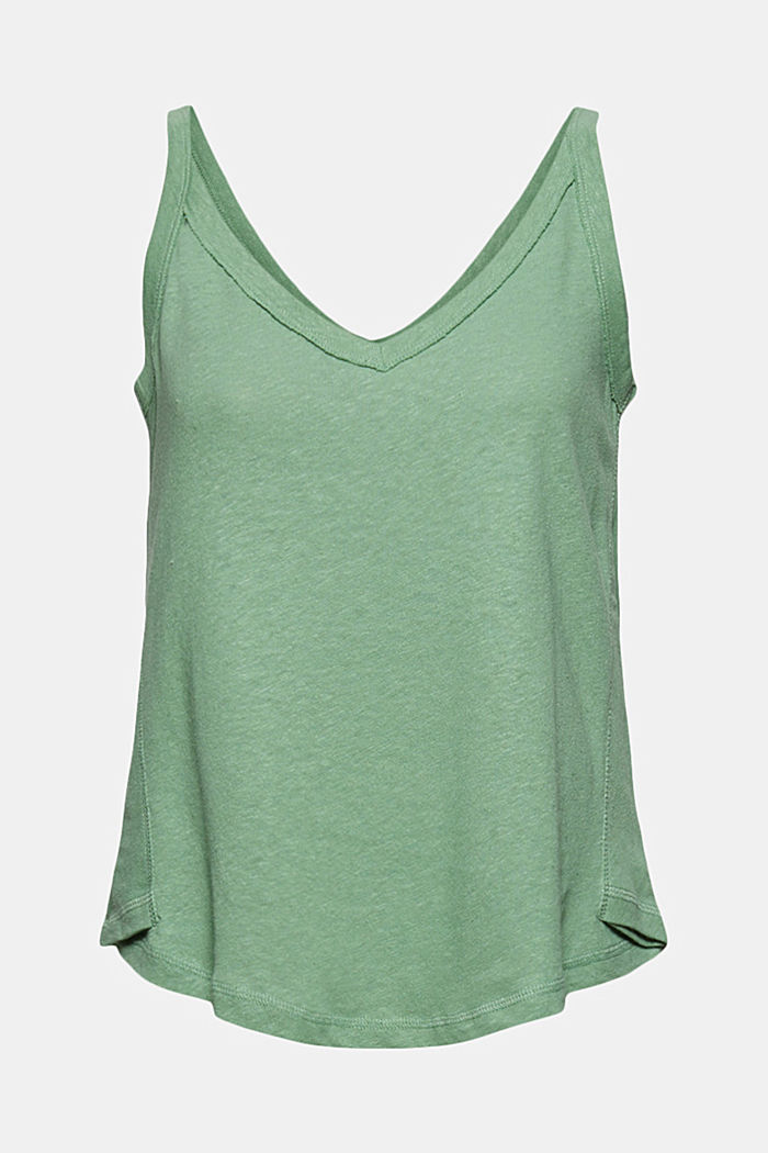With linen: V-neck sleeveless top