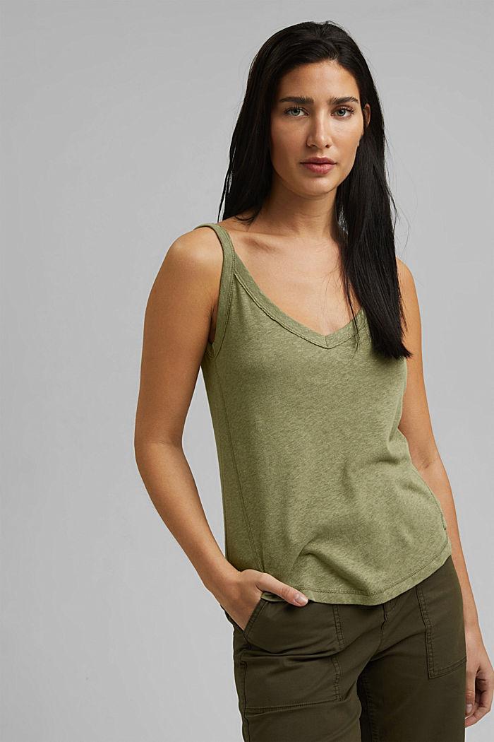 With linen: V-neck sleeveless top, LIGHT KHAKI, detail image number 0