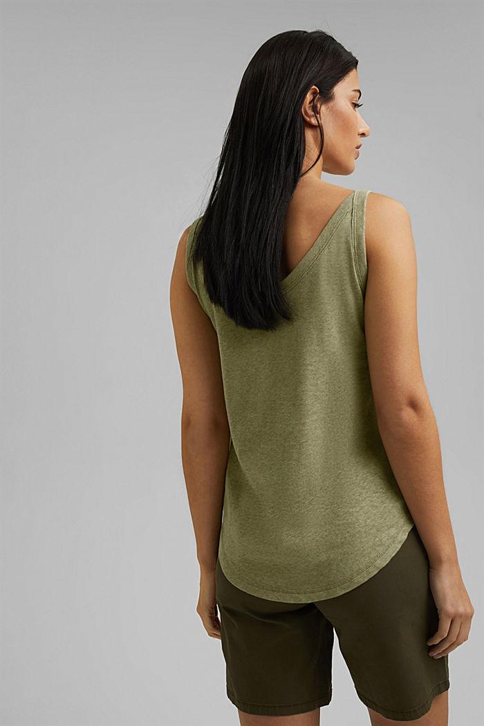 With linen: V-neck sleeveless top, LIGHT KHAKI, detail image number 3