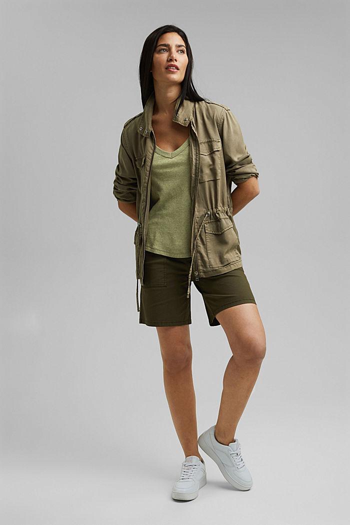 With linen: V-neck sleeveless top, LIGHT KHAKI, detail image number 1