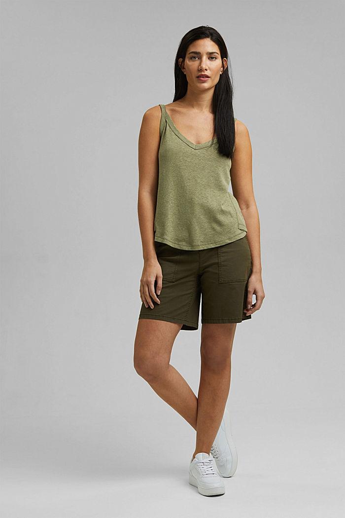 With linen: V-neck sleeveless top, LIGHT KHAKI, detail image number 7