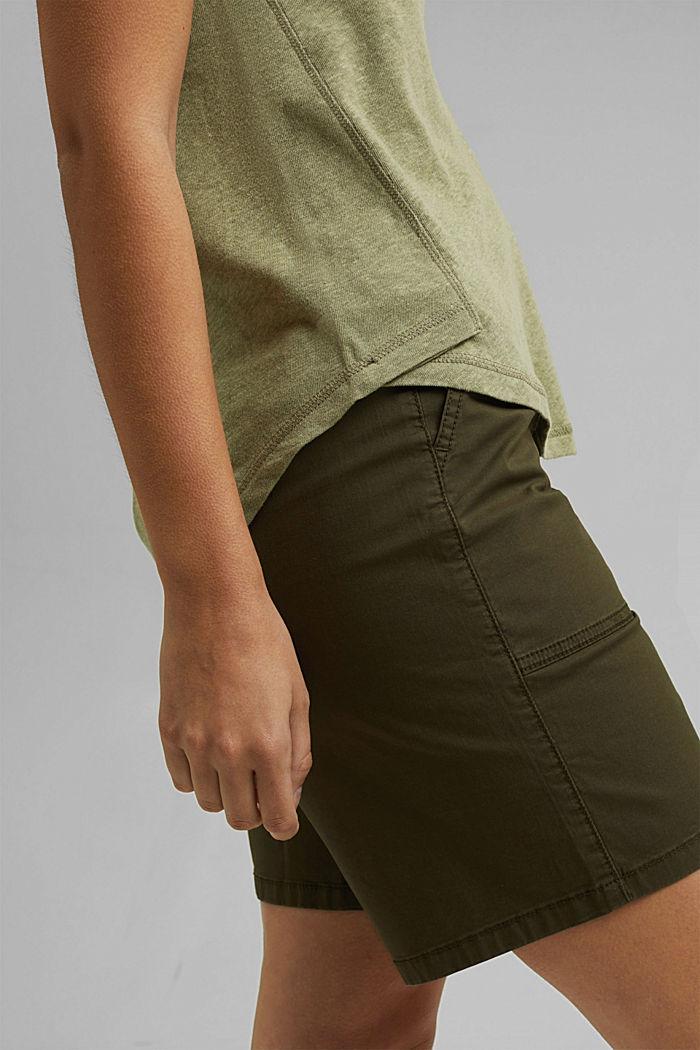With linen: V-neck sleeveless top, LIGHT KHAKI, detail image number 5