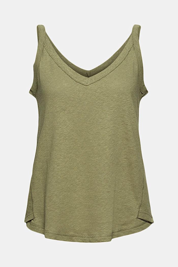 With linen: V-neck sleeveless top, LIGHT KHAKI, detail image number 8