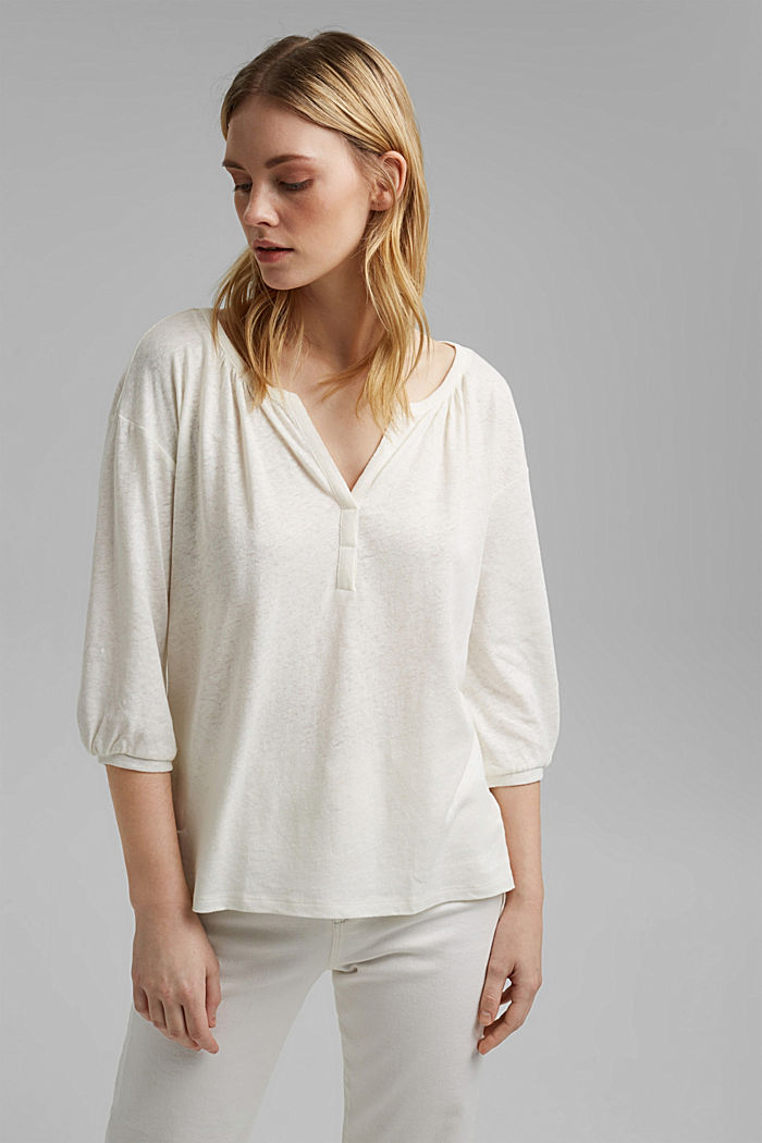 Blusenshirt aus Baumwoll-Leinen-Mix, OFF WHITE, detail image number 0