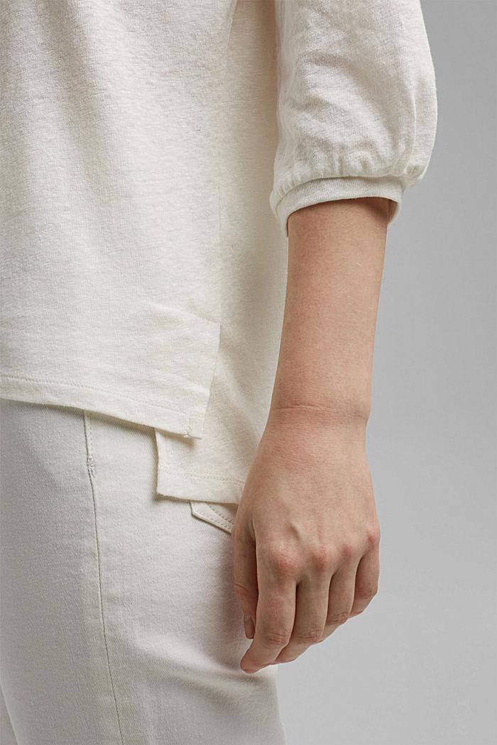 Blouseshirt van een mix van katoen en linnen, OFF WHITE, detail image number 5