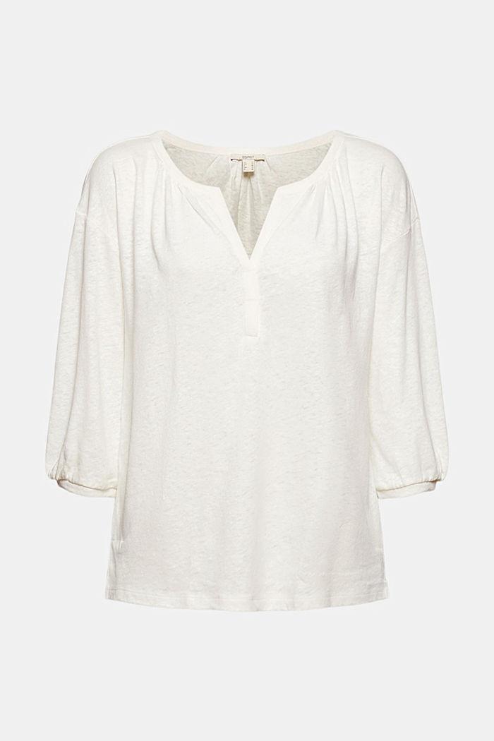 Blouseshirt van een mix van katoen en linnen, OFF WHITE, detail image number 8