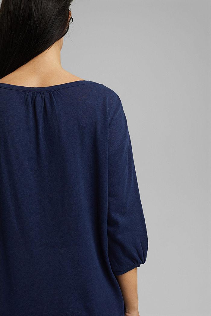 Blusenshirt aus Baumwoll-Leinen-Mix, DARK BLUE, detail image number 2
