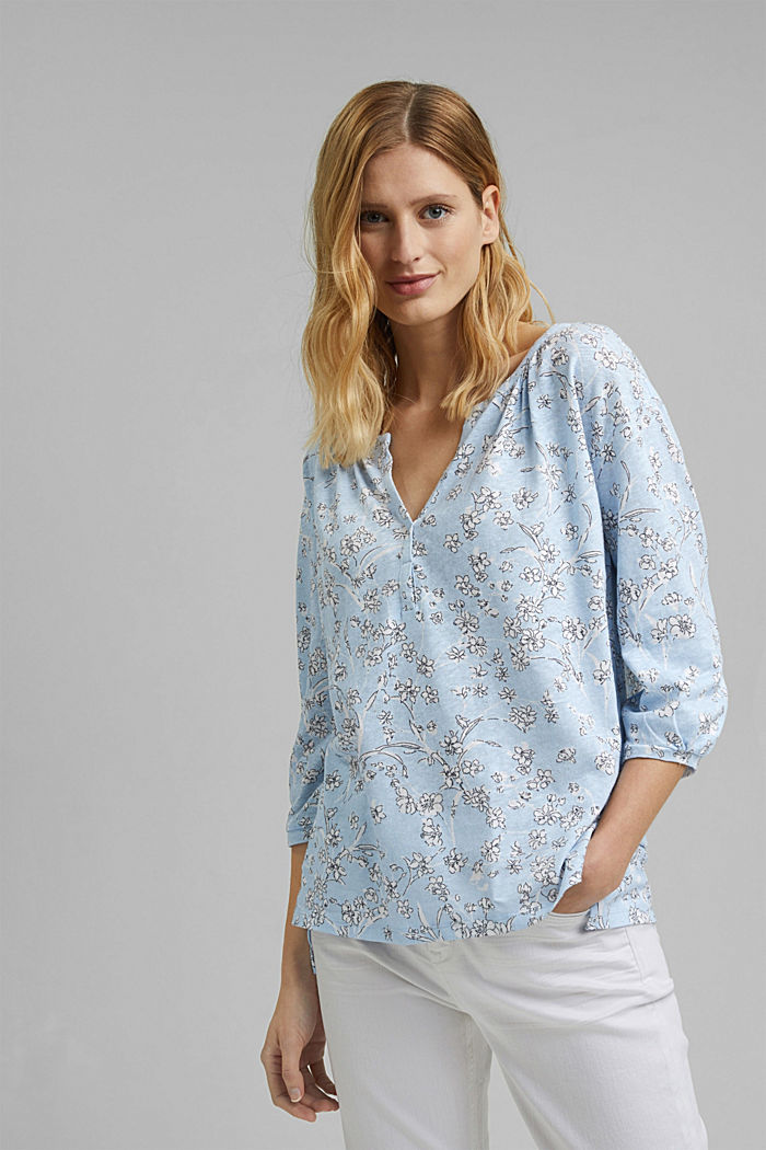 Blousy, long sleeve top with linen, LIGHT BLUE, detail image number 0