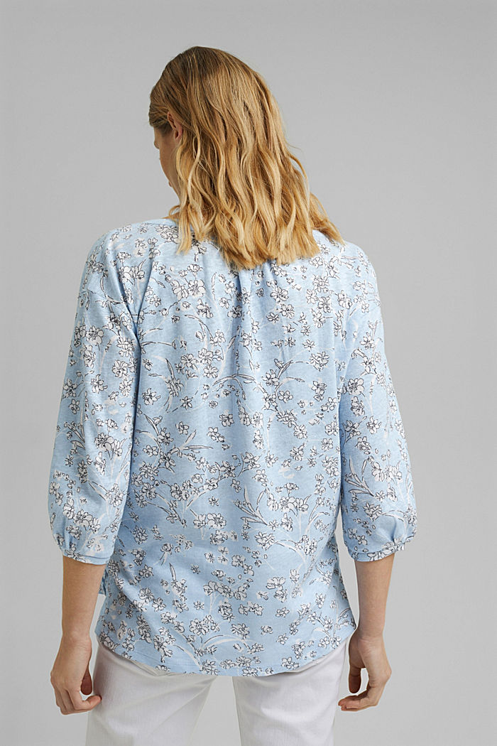 Blousy, long sleeve top with linen, LIGHT BLUE, detail image number 3