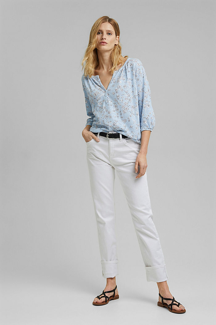 Blousy, long sleeve top with linen, LIGHT BLUE, detail image number 1