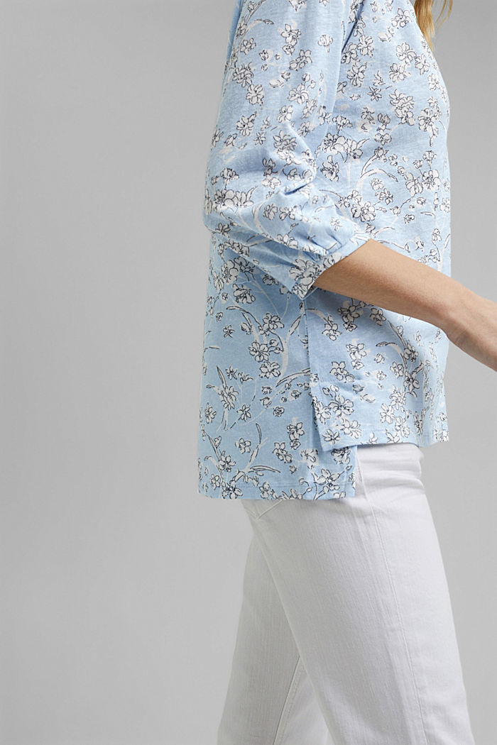 Blousy, long sleeve top with linen, LIGHT BLUE, detail image number 2