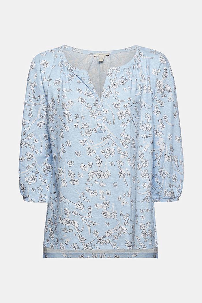 Met linnen: longsleeve in blouseachtige look