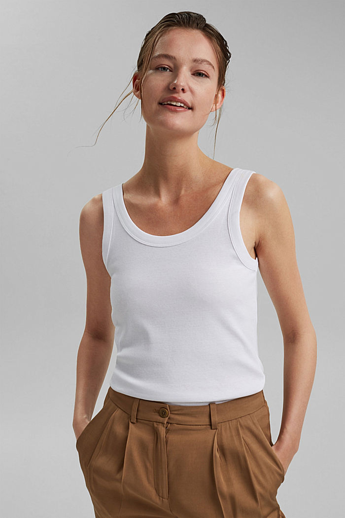Vest top made of 100% organic cotton, WHITE, detail image number 0