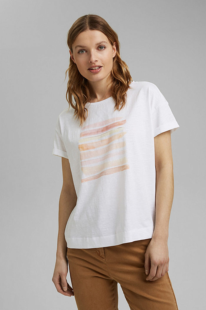 T-shirt with print, organic cotton, WHITE COLORWAY, detail image number 0
