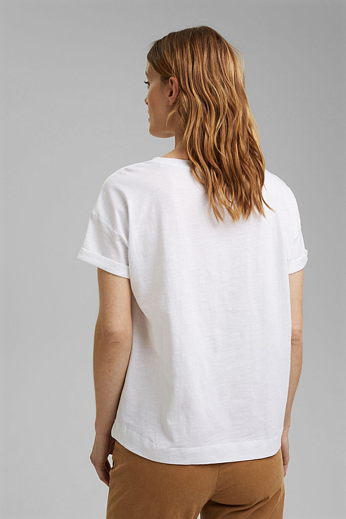 T-shirt with print, organic cotton, WHITE COLORWAY, detail image number 3