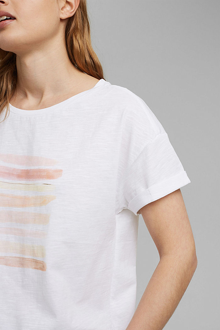 T-shirt with print, organic cotton, WHITE COLORWAY, detail image number 2