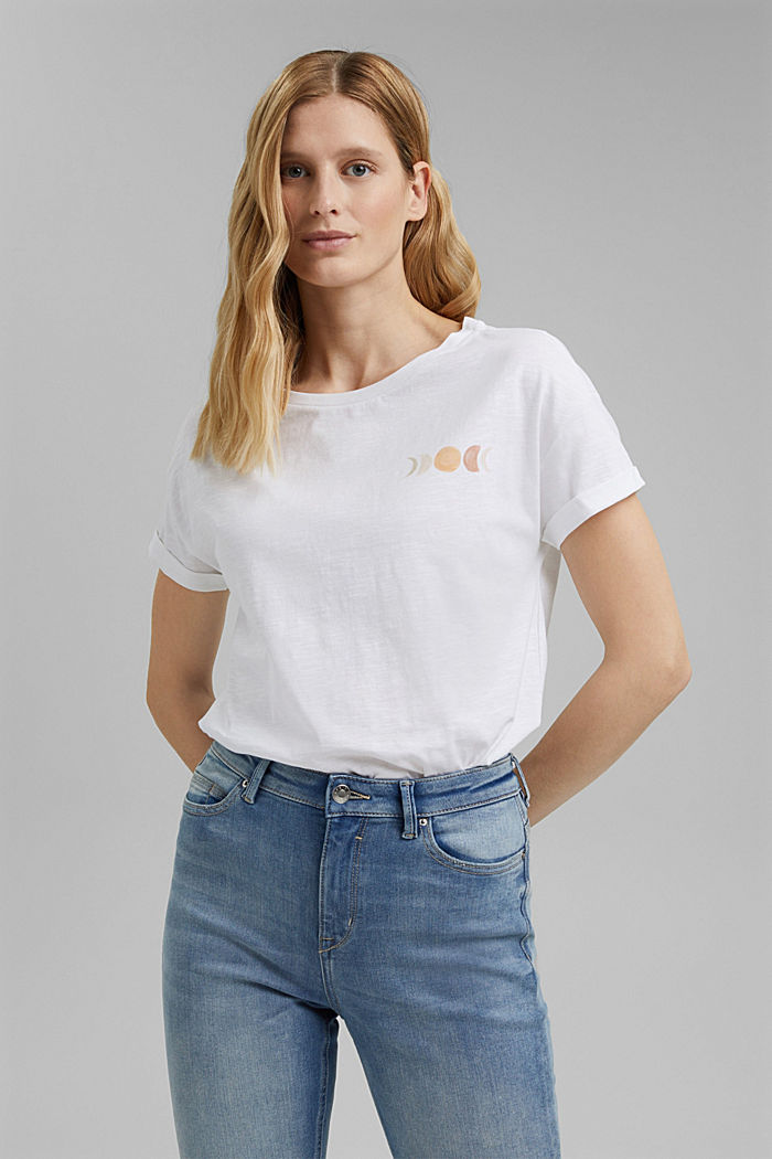 T-shirt with print, organic cotton, WHITE, detail image number 0
