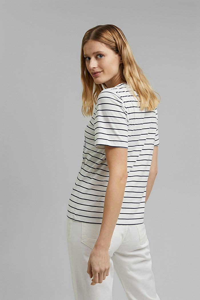 Striped organic cotton T-shirt with a print, NAVY, detail image number 3