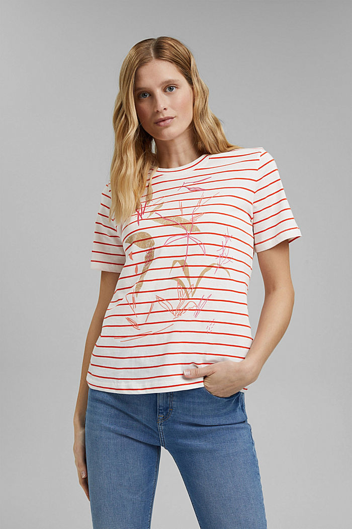 Striped organic cotton T-shirt with a print